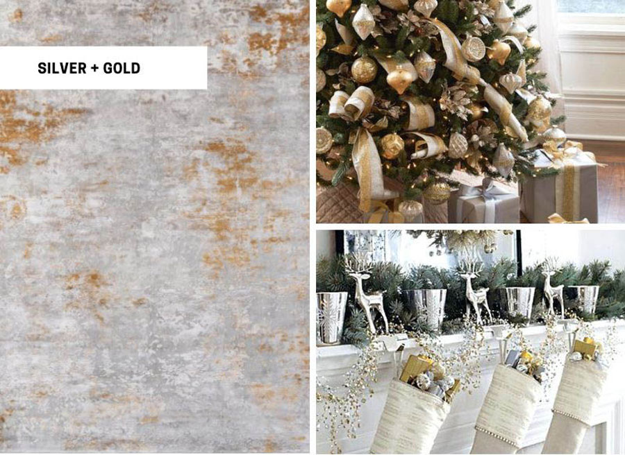 Silver and gold cozy holiday area rugs