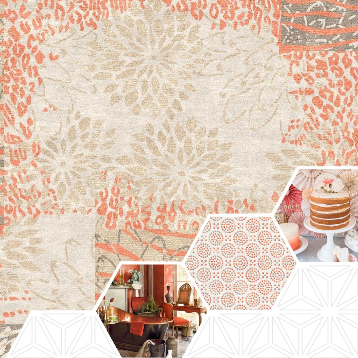 Living Coral Is the Color of the Year for 2019; Signature 16 Coral themed rug alongside of elegant coral themed bathroom and set of birthday cakes (bathroom image from Nancy Worden Geisel - https://www.pinterest.com/pin/499618152386898659/?lp=true; cakes photo from www.karaspartyideas.com)