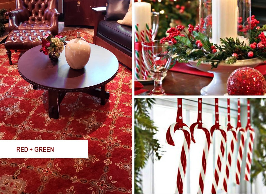Traditional red and green cozy holiday area rugs