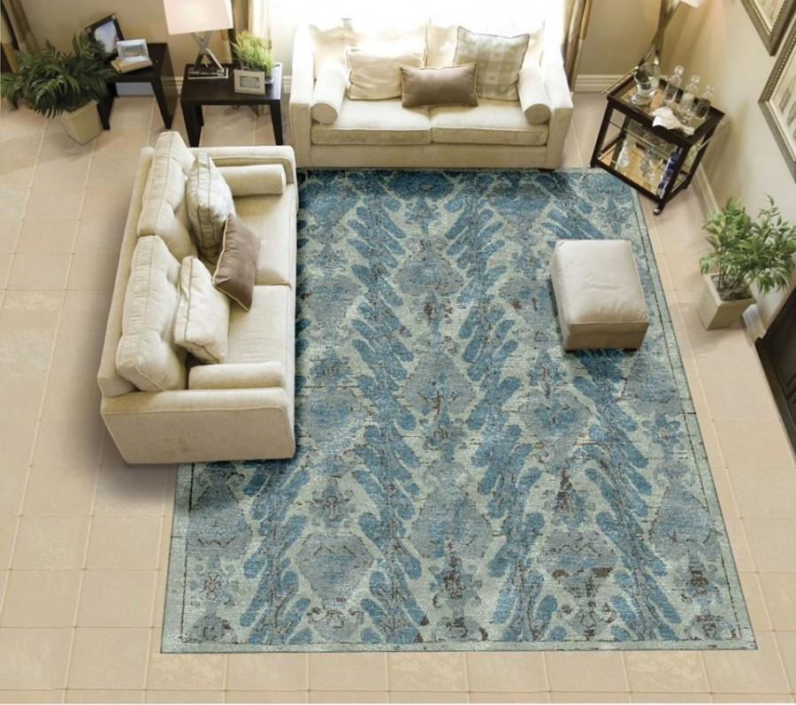 The color blue can represent trust and stability, which makes this Mafi Signature rug perfect for your living room.